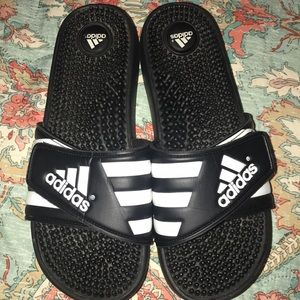 Men's Adidas Velcro flip-flops shower shoes Sz 9W